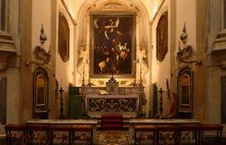 Caravaggio ` s Sette Opere di Misericordia在那不勒斯,意大利 库存图片