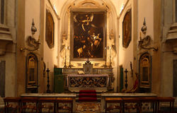 Caravaggio ` s Sette Opere Di Misericordia w Naples, Włochy Obraz Stock