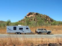Caravan. Car and caravan parked in the Australian outback Royalty Free Stock Photos