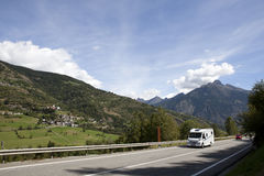 Caravan in the Alps Royalty Free Stock Photography