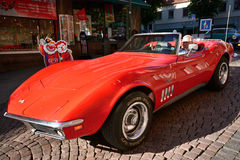 Caravan of American retro cars Royalty Free Stock Images