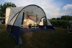 Caravan with awning Stock Photo