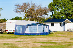 Caravan with awning Royalty Free Stock Photos