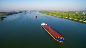 Caravan of barges on the river Royalty Free Stock Image