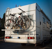 Caravan and bicycles. Bicycles on the back of a caravan royalty free stock photos