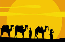 Caravan of camels. Move on scorching sand of Desert. Vector background Stock Photo
