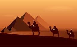 Caravan camels. Among desert and pyramids - vector Royalty Free Stock Photography