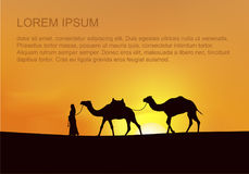 Caravan of Camels Goes to the dessert vector illustration
