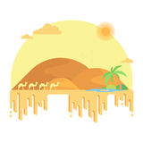 A caravan of camels goes to an oasis among the dunes. Stock Photo