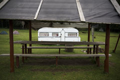 Caravan on a camp site Stock Images