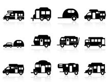 Caravan or camper van symbol. Isolated Caravan or camper van symbol on white background Stock Image