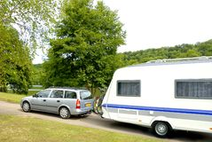 Caravan at a camping Stock Image