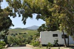 Caravan at a camping. Stock Photos