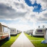 Caravan camping. On the beach. Family vacation. North sea coast, Germany Stock Photography