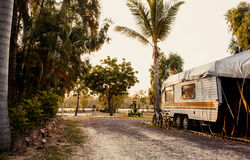 Caravan in a camping Royalty Free Stock Image