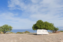 Caravan on camping by the sea Royalty Free Stock Photography