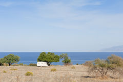 Caravan on camping by the sea Royalty Free Stock Photo