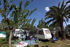 Caravan on a camping site Stock Photography