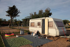 Caravan on a camping site Royalty Free Stock Photography