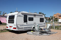Caravan on a camping site Royalty Free Stock Photos