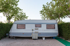 Caravan on a camping site Stock Image