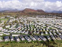 Caravan and camping, static home aerial view Stock Images