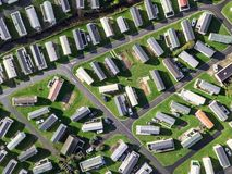 Caravan and camping, static home aerial view Stock Photography