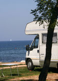 Caravan at the campsite royalty free stock photos