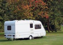 Caravan on campsite in Autumn stock photography