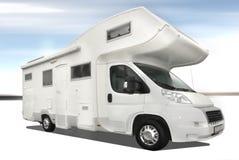 Caravan car. White caravan car isolated on polar background Stock Photo