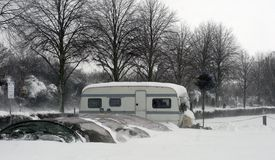Caravan on car park Royalty Free Stock Photo