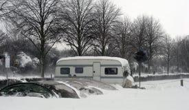 Caravan on car park royalty free stock photo