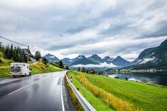 Caravan car travels on  highway. Royalty Free Stock Image