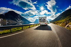 Caravan car travels on the highway. Tourism vacation and traveling Royalty Free Stock Images
