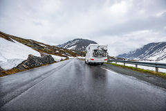 Caravan car travels on the highway. Tourism vacation and traveling Royalty Free Stock Photography