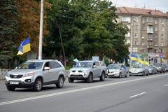 Caravan of cars parade participants Stock Photo