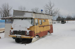 Caravan  covered by  snow in winter Royalty Free Stock Images