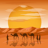 Caravan in desert vector background. Arab people and camels silhouettes in sands Royalty Free Stock Photos