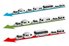 Caravan e bus Immagini Stock Libere da Diritti