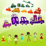 Caravan, group of kids playing Stock Image