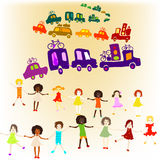 Caravan, group of kids playing Royalty Free Stock Images