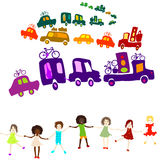 Caravan, group of kids playing Royalty Free Stock Photo