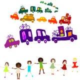 Caravan, group of kids playing Royalty Free Stock Photo