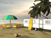 Caravan holidays at the beach - 3D render Stock Images