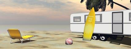 Caravan holidays at the beach - 3D render Stock Image