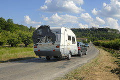 Caravan on its way in France Royalty Free Stock Image