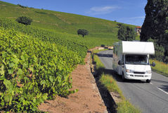 Caravan on its way in France Stock Image