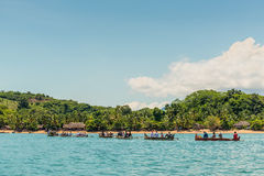 Caravan Malagasy traditional outrigger canoes Stock Photo