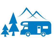 Caravan and mountain. Caravan, tree and mountain. Black vector icon. Silhuette of coach vector illustration