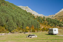 Caravan in nature Royalty Free Stock Image